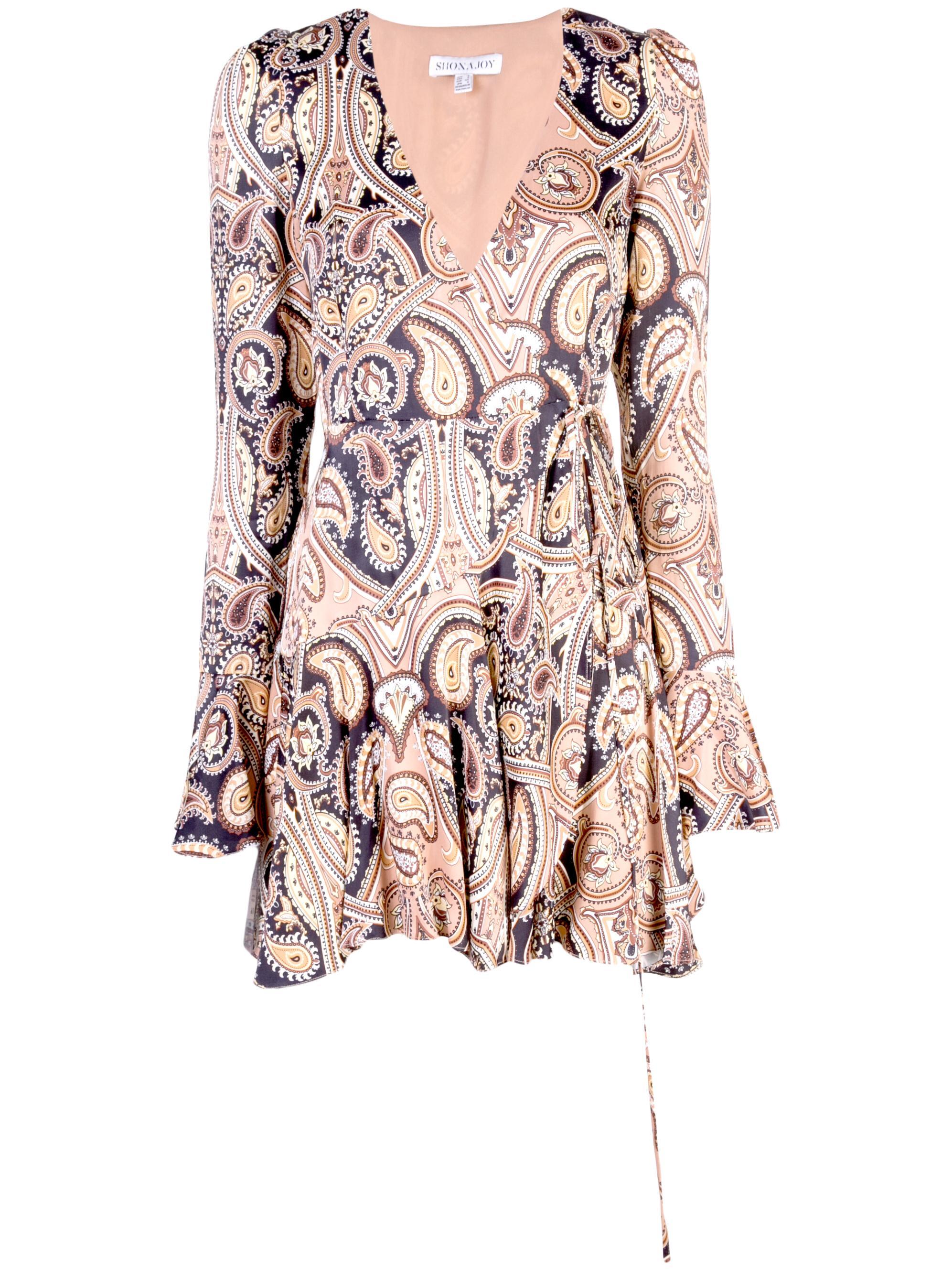 Hendrix Frill Cuff Wrap Mini Dress Item # SJ4295