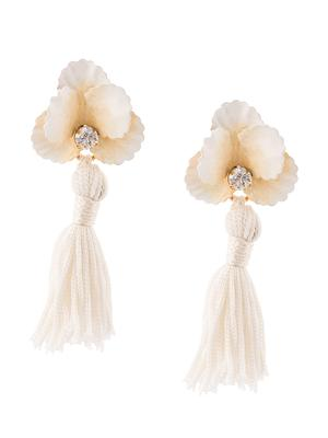 Flower With Crystal and Tassel Earring