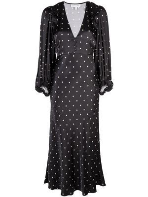 O'dell Long Sleeve Bias Midi Dress