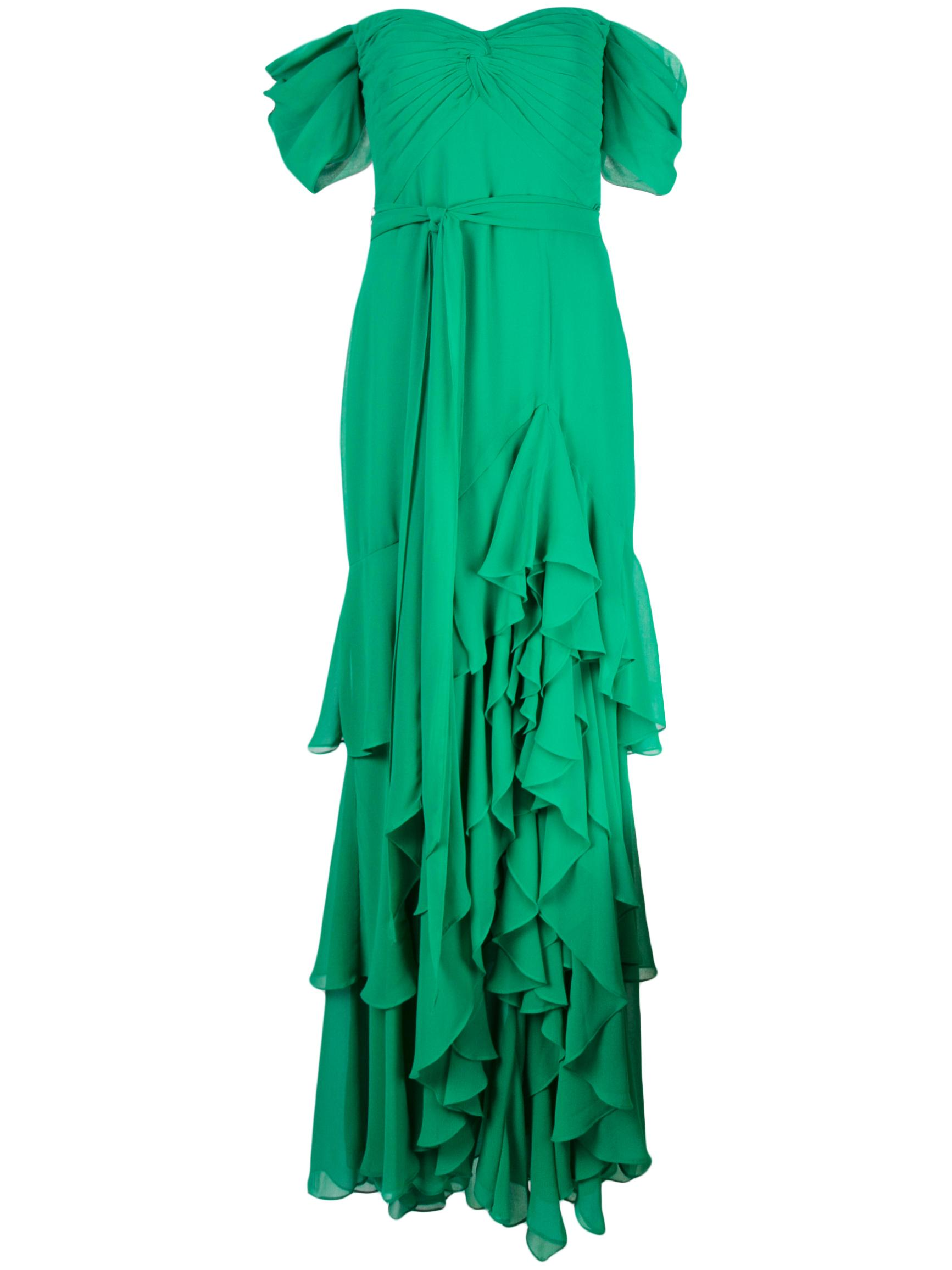 Twist Front Ruffle Slit Gown