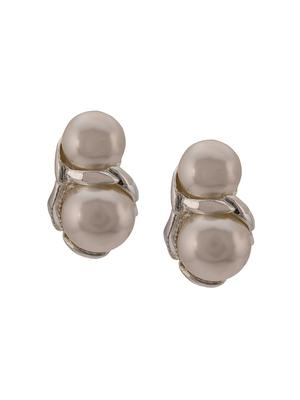 Double Pearl Sterling Silver Clip-On
