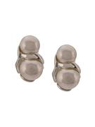 Double Pearl Sterling Silver Clip- On