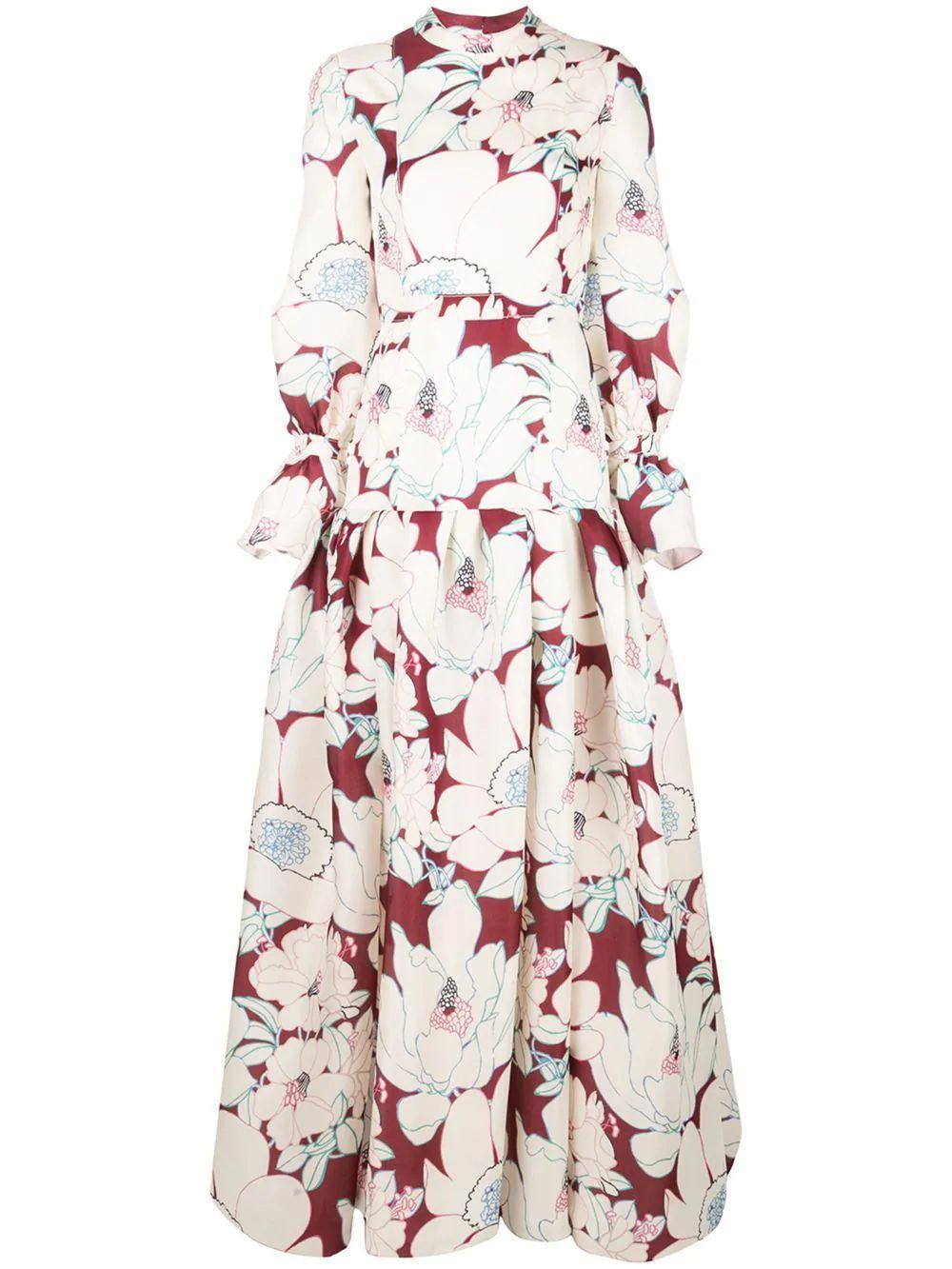 Floral Print Gauze Puff Sleeve Drop Waist Gown Item # P1911N715OGA