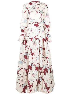 Floral Print Gauze Puff Sleeve Drop Waist Gown