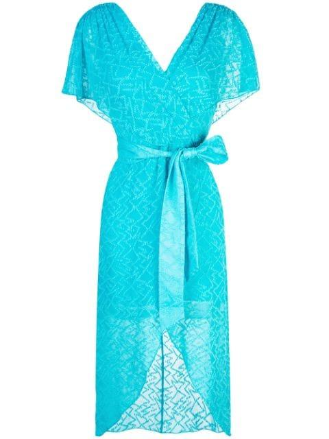 Darva Gathered Mock Wrap Midi Dress