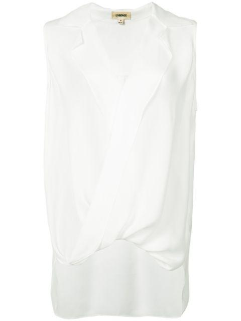 Freja Sleeveless Drape Blouse Item # 4794GG-B