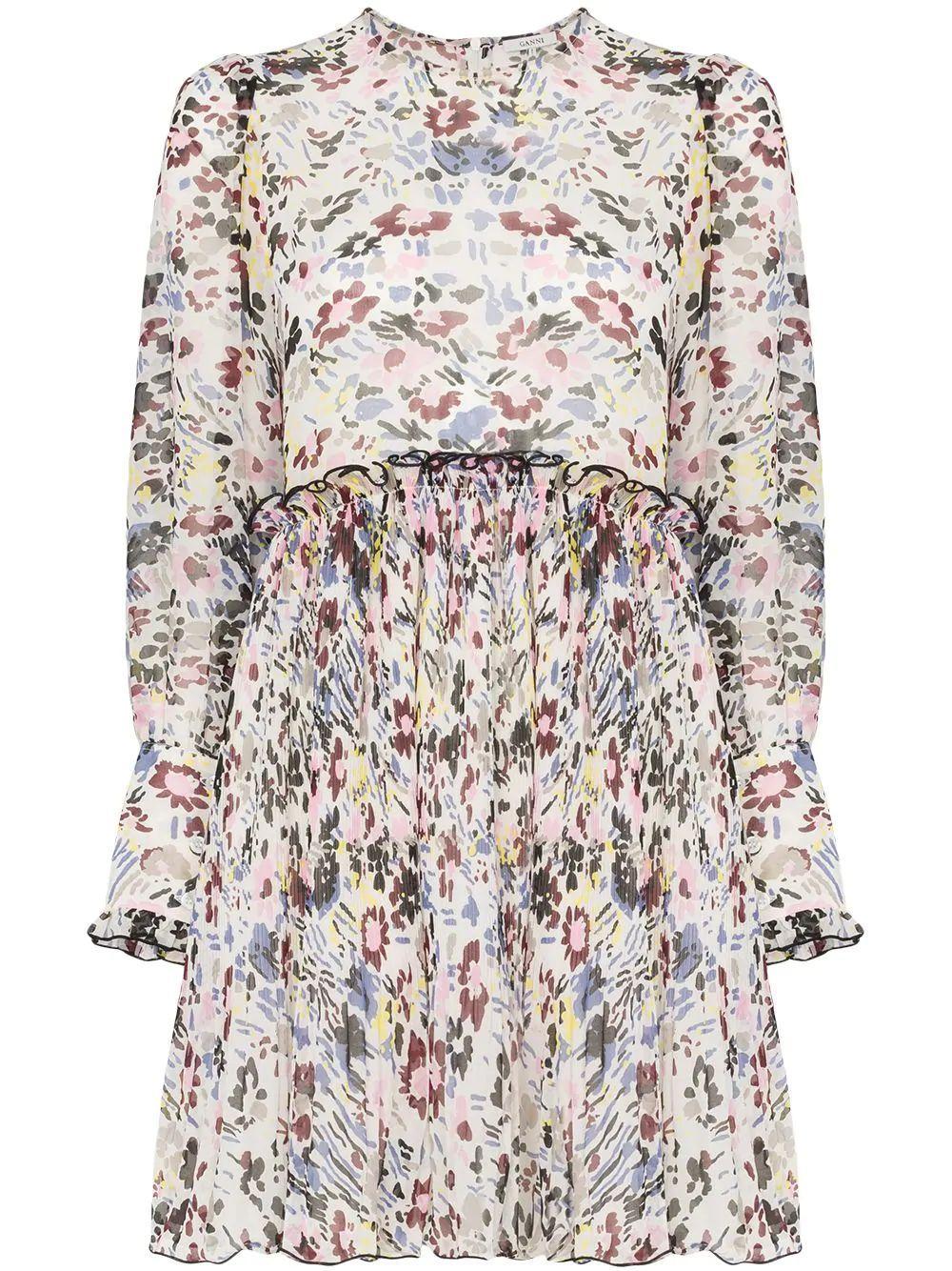 Floral Pleated Longsleeve Dress Item # F3401