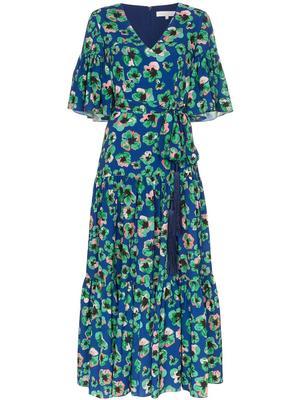 Elbow Sleeve V-Neck Leopard Floral Dress