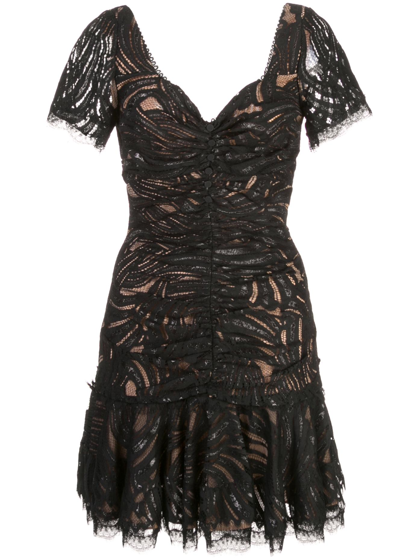 Metallic Lace Mini Ruffle Dress Item # 319-1011-X