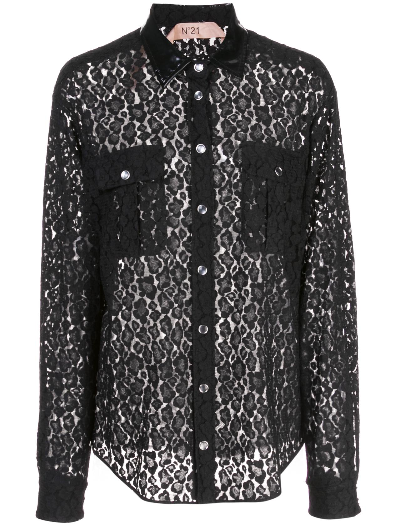 Long- Sleeve Lace Button Up Blouse Item # G063-4931-9000