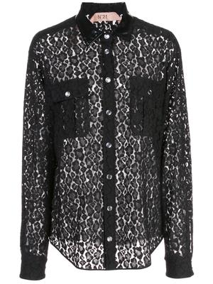 Long-Sleeve Lace Button Up Blouse