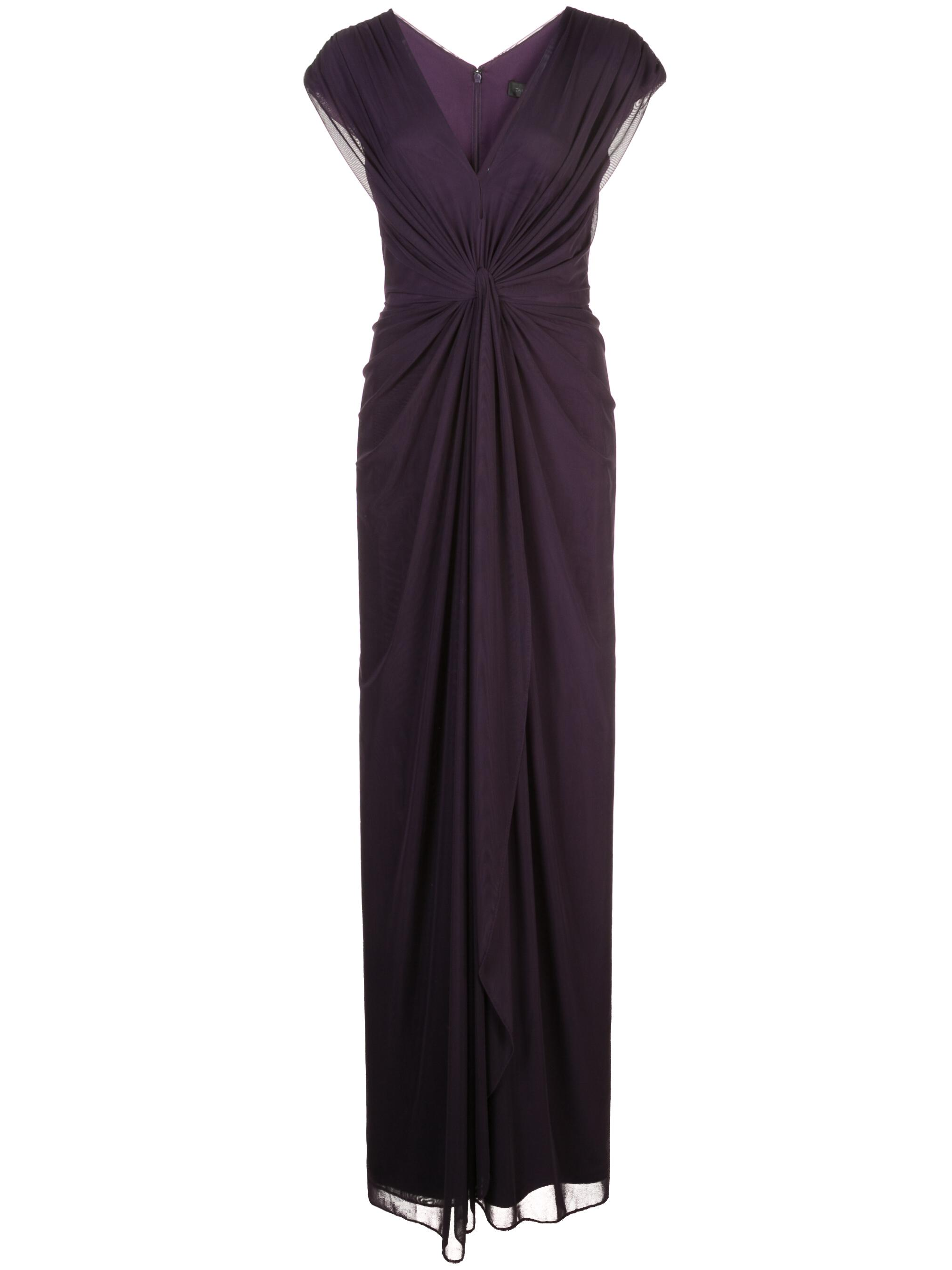 Short Sleeve V-Neck Front Know Chiffon Gown