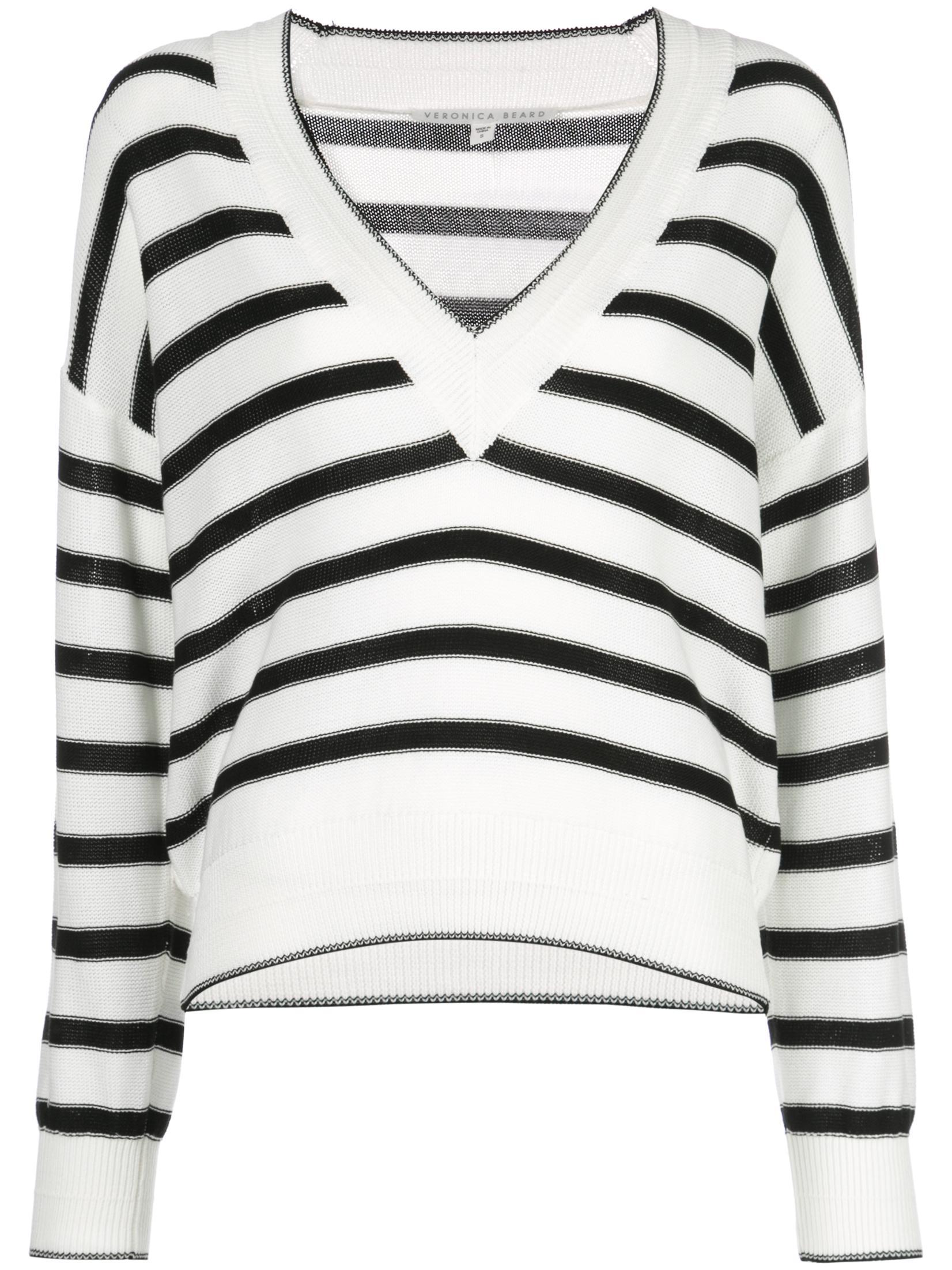 Jayden Long Sleeve Striped V- Neck Sweater Item # 1905KN4539308