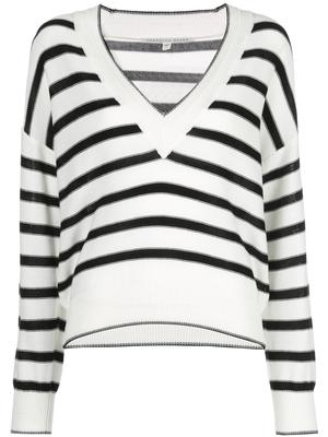 Jayden Long Sleeve Striped V-Neck Sweater