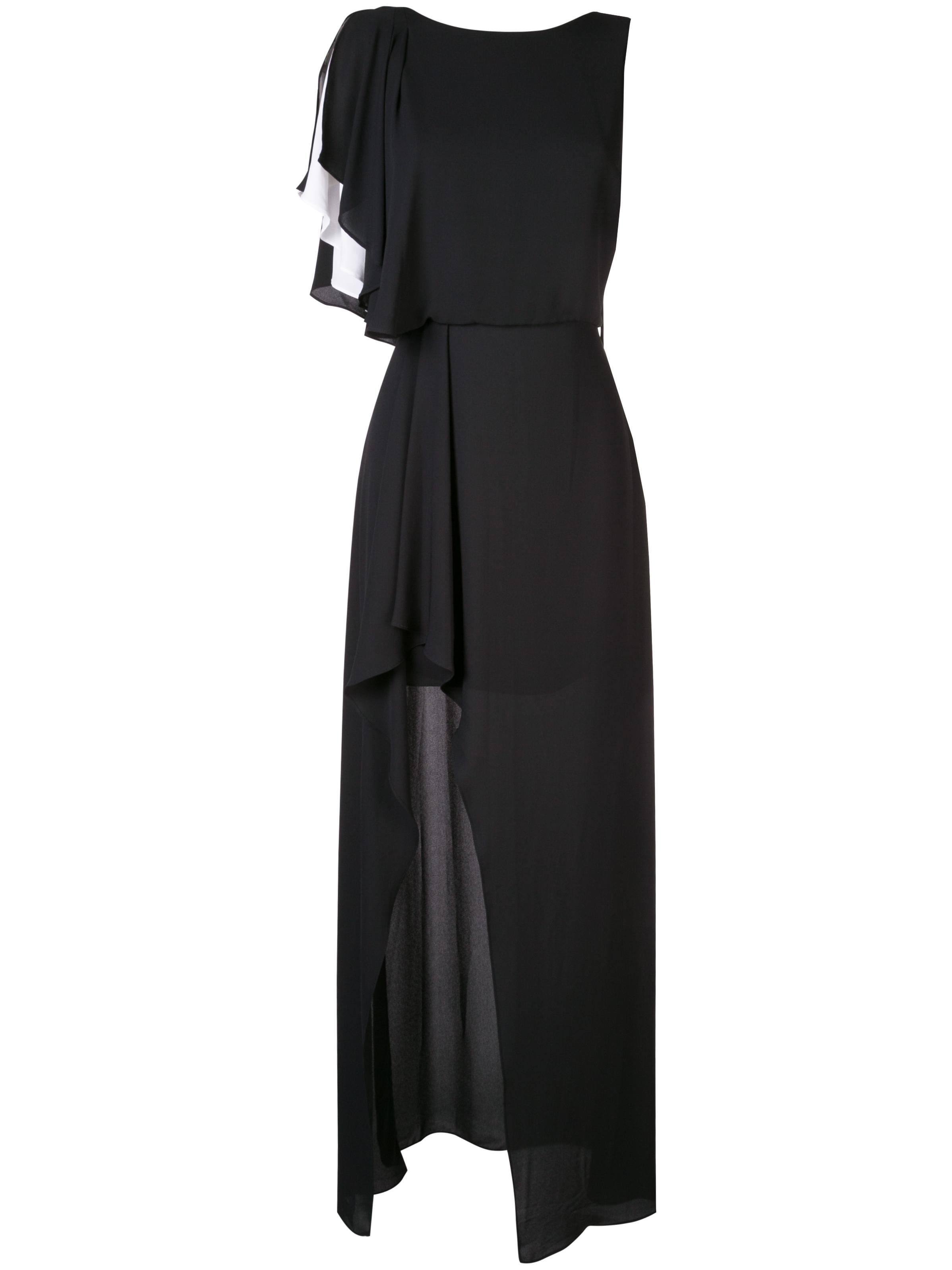 Asymmetric Boatneck Gown With  Flounce Sleeves