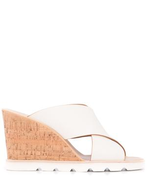 Leather Criss Cross Wedge Sandal