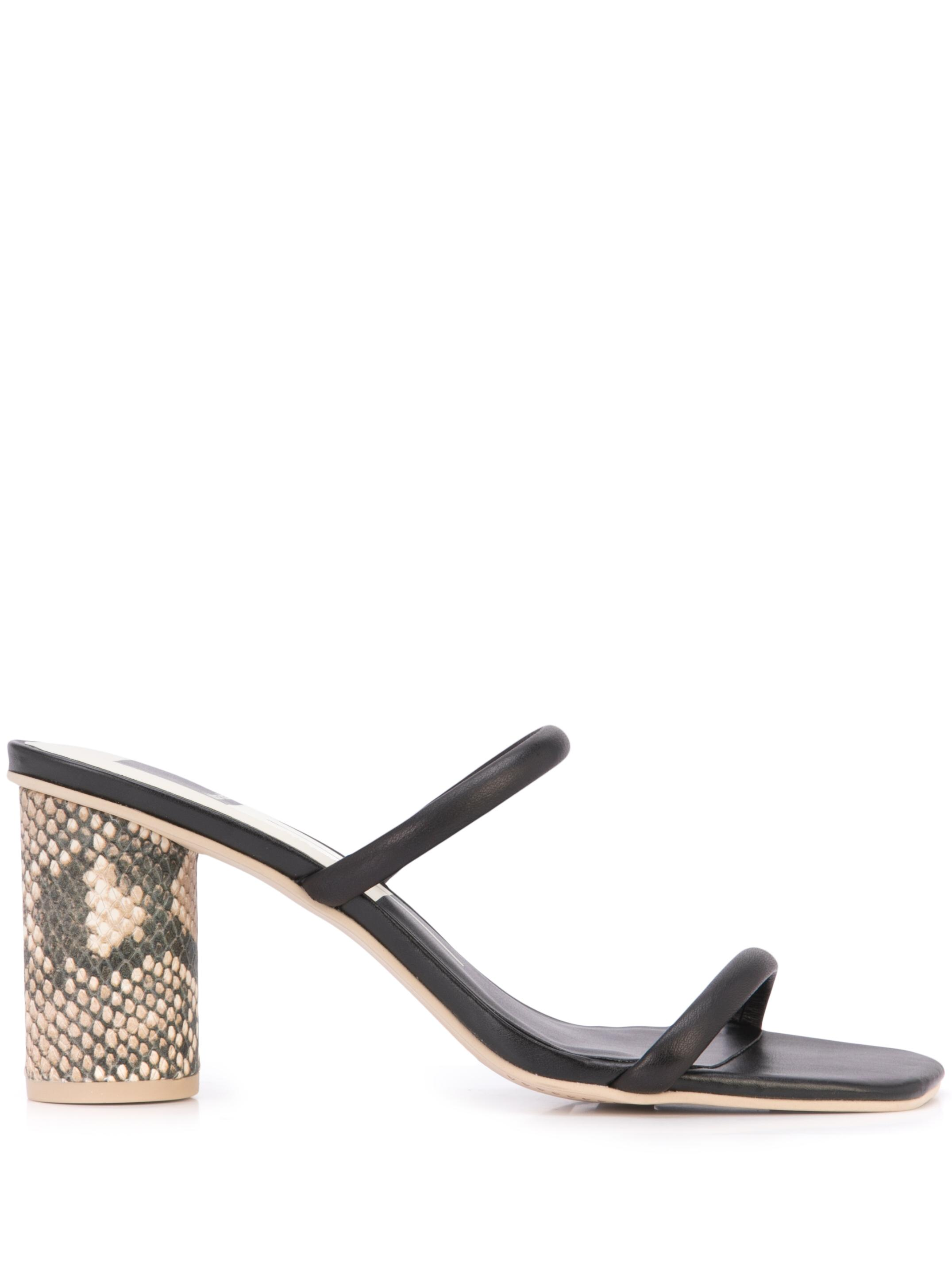 2-Strap Block Heel Leather Sandal