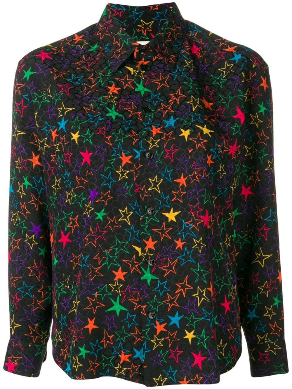 Long Sleeve Neon Star Blouse