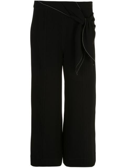 Jenna Tie Belt Wide Leg Cropped Top Stitch Item # ZP3421319Z