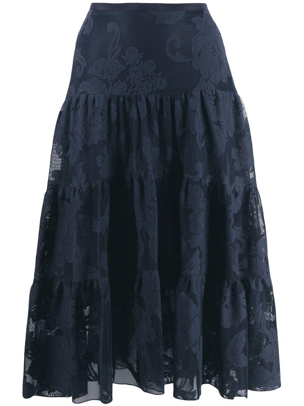 Tiered Lace Midi Skirt