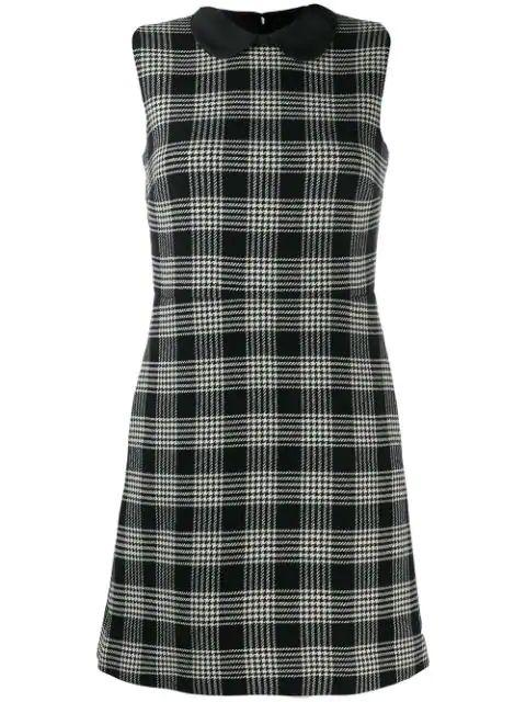Sleeveless Plaid Dress With Collar