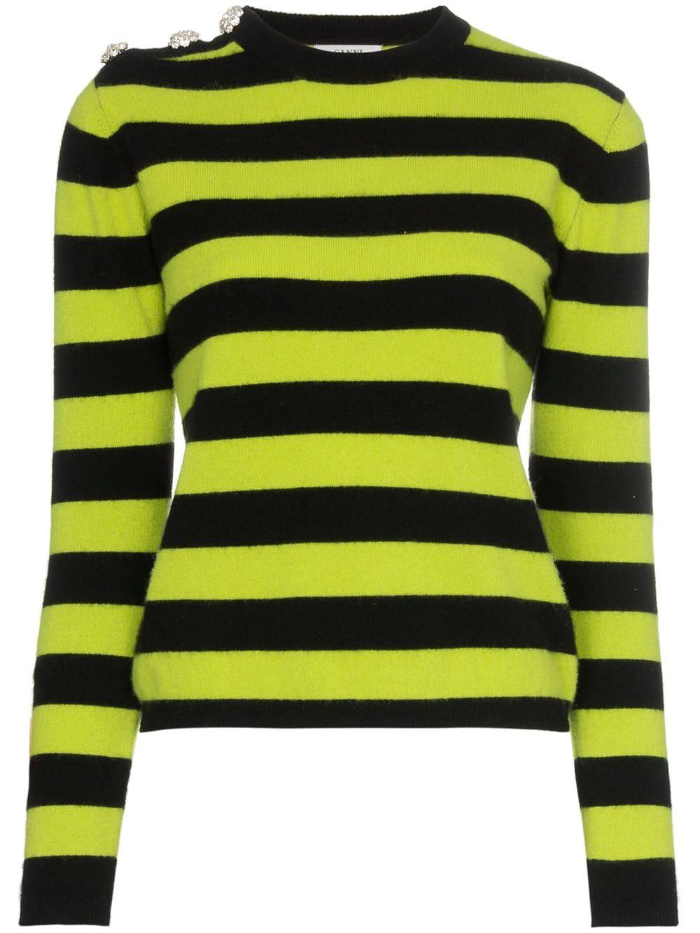 Striped Embellished Button Sweater