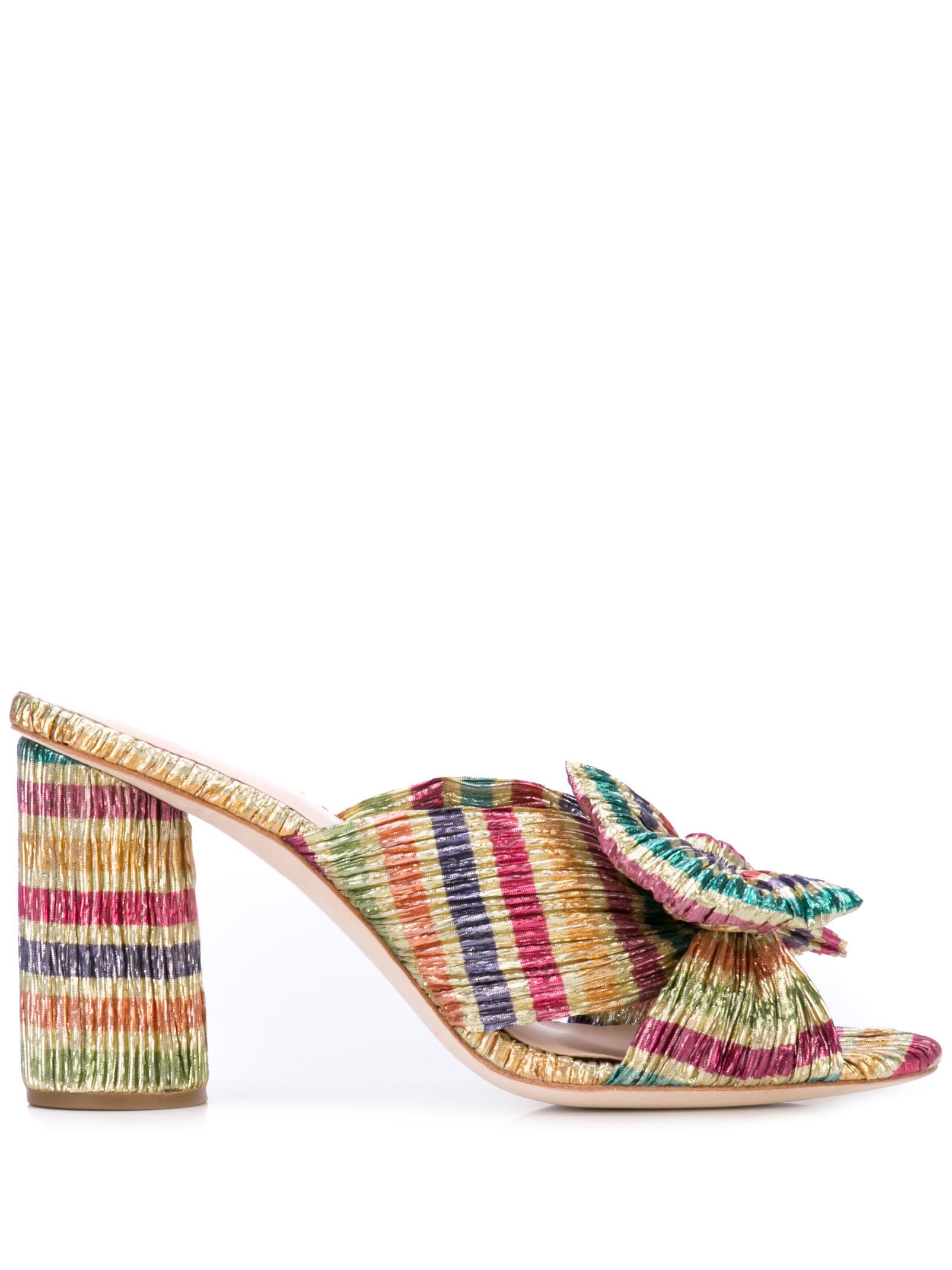 Stripe Knot High Heel Mule Sandal