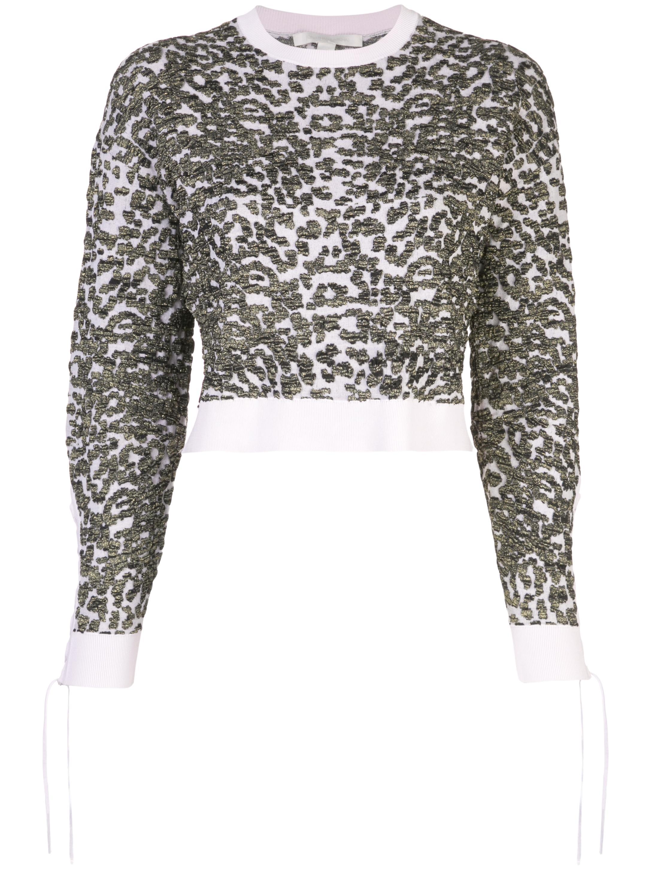 Long Sleeve Leopard Jacquard Crew Neck Sweater