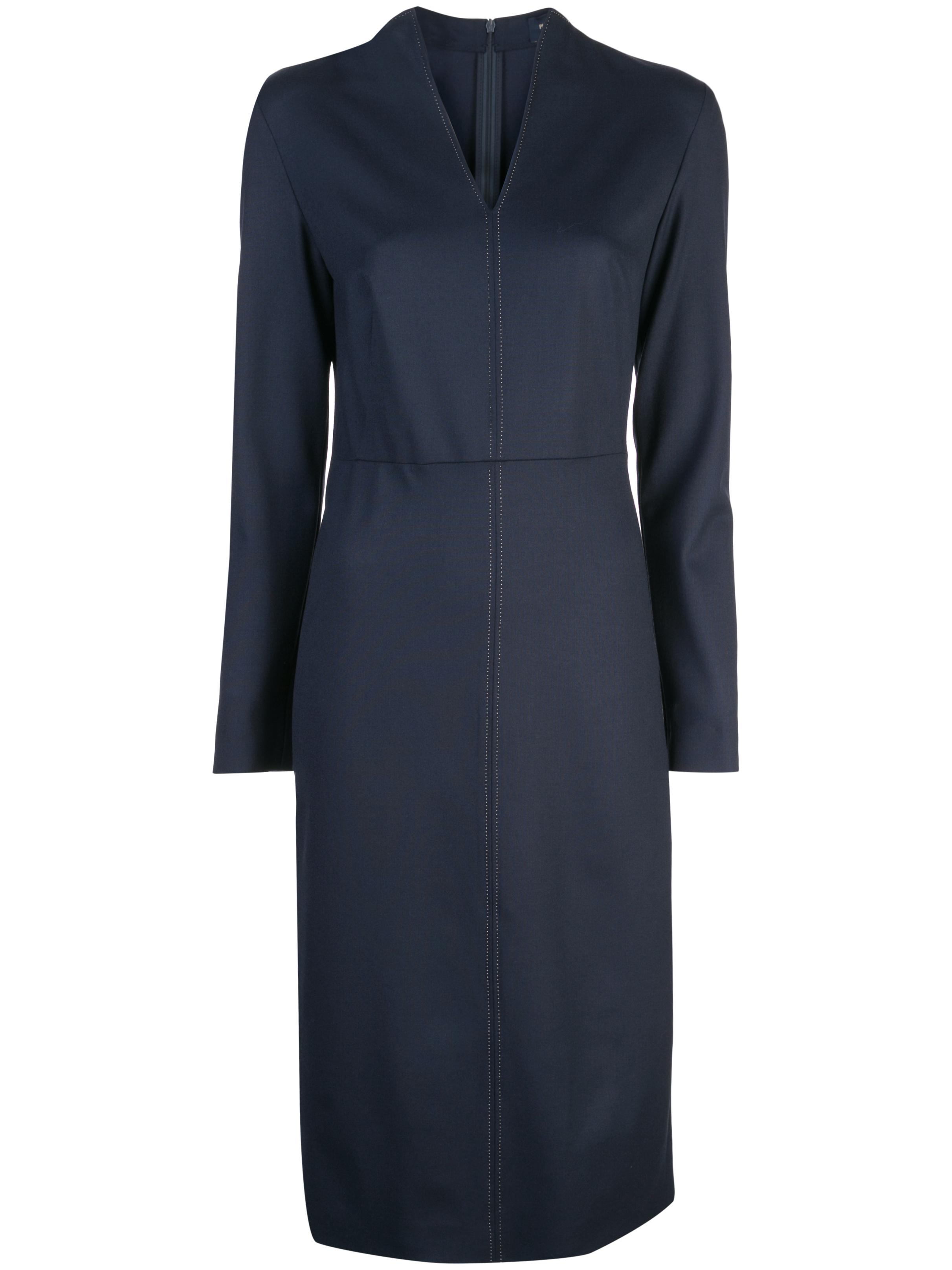 Long Sleeve V-Neck Sheath Dress