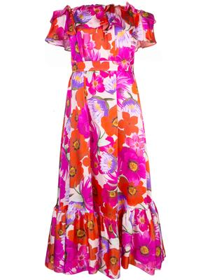 Off Shoulder Floral Silk Long Dress