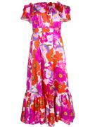 Off Shoulder Floral Silk Long Dress