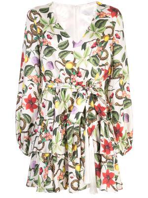 Long Sleeve V-Neck Tropical Print Short Dress