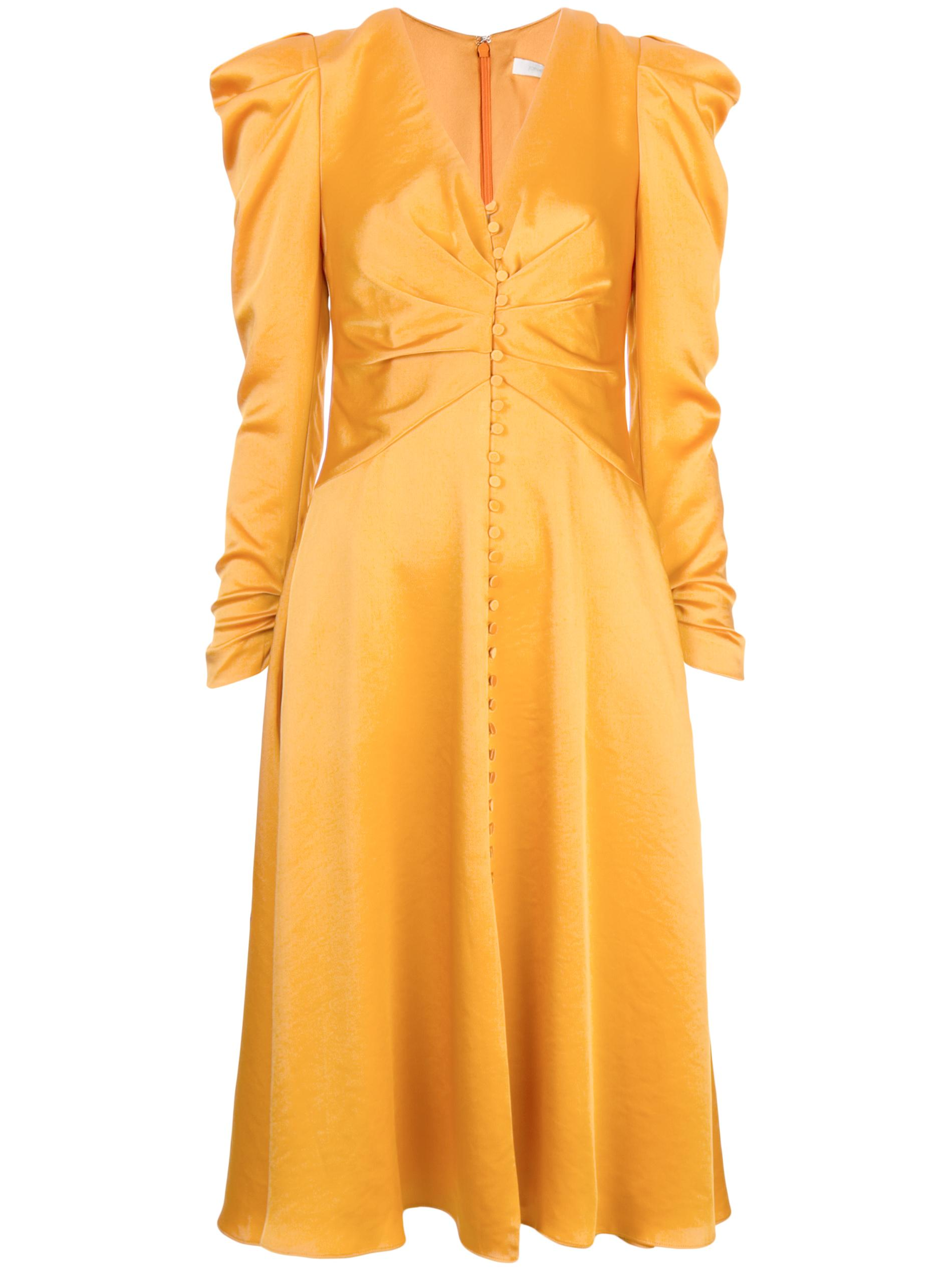 Long Sleeve Ruched Front Sateen V-Neck Dress