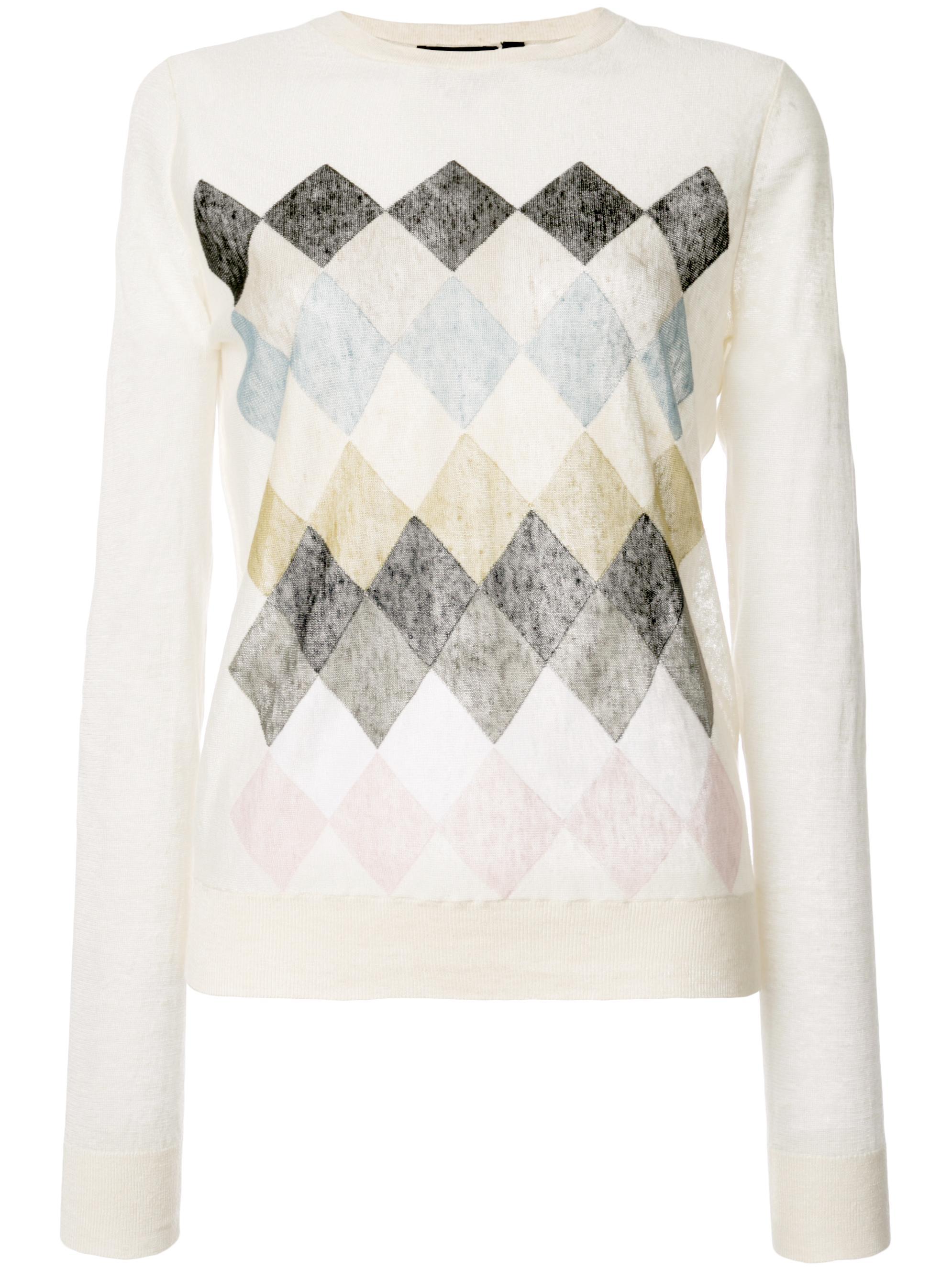 Diamond Linen Long Sleeve Pullover