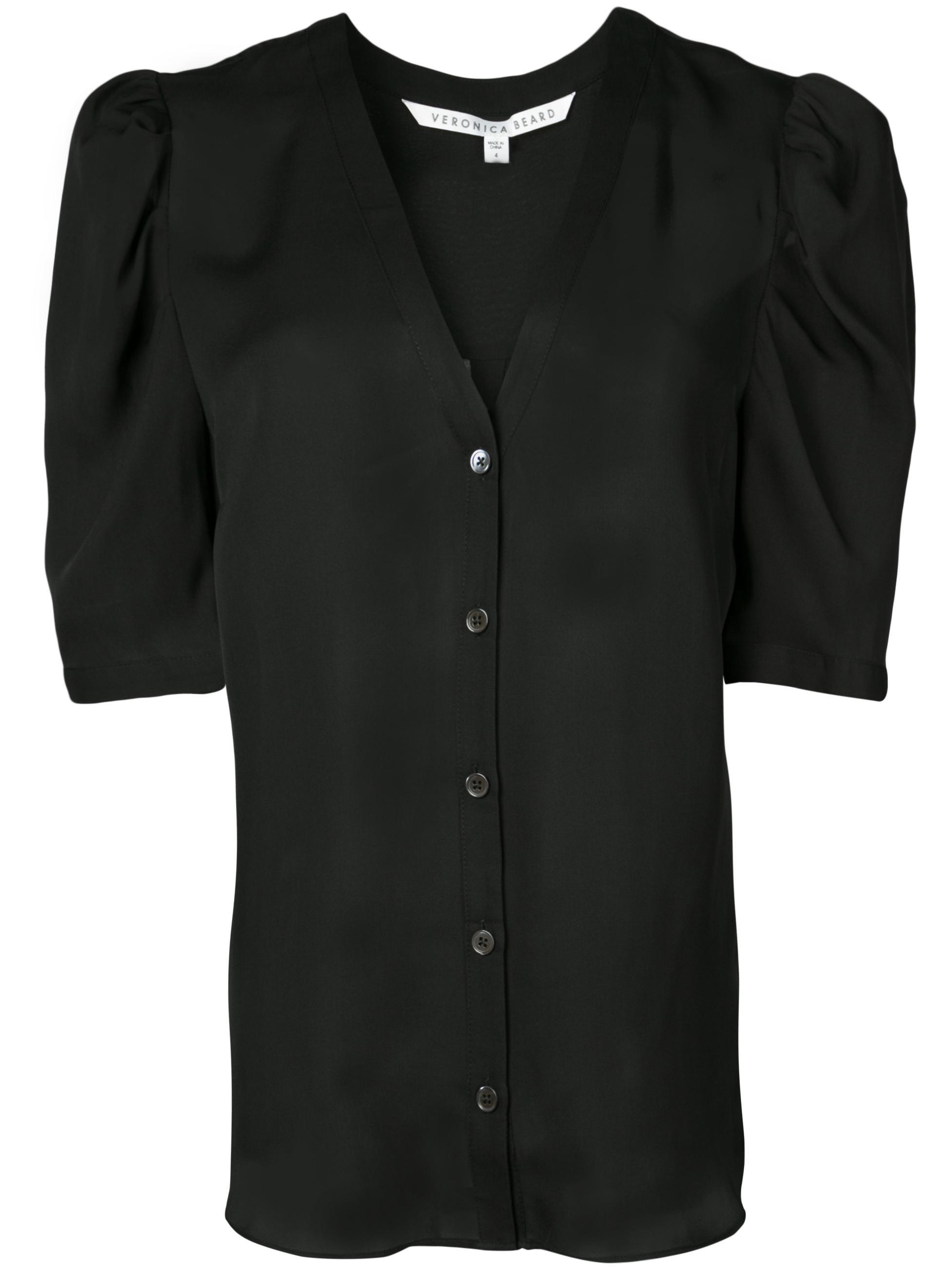 Garland Short Sleeve V- Neck Button Up Blouse Item # 1905GGT054574