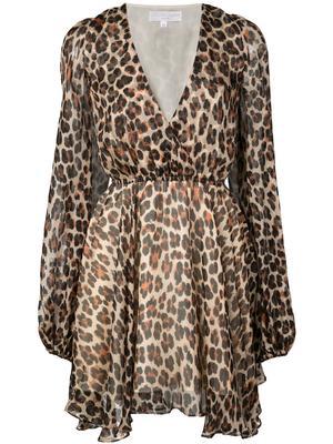 Olena Leopard Cross Front A-Line Dress