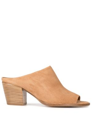 Suede Open Toe Mule With Block Heel
