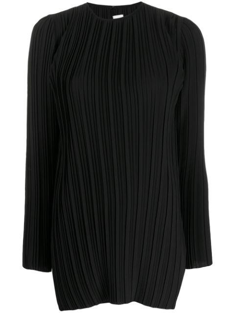 Long Sleeve Pleated Crepe Top