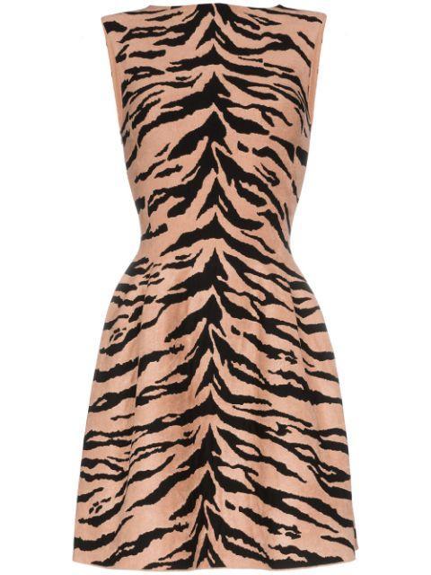 Sleeveless High Neck Tiger Print Dress