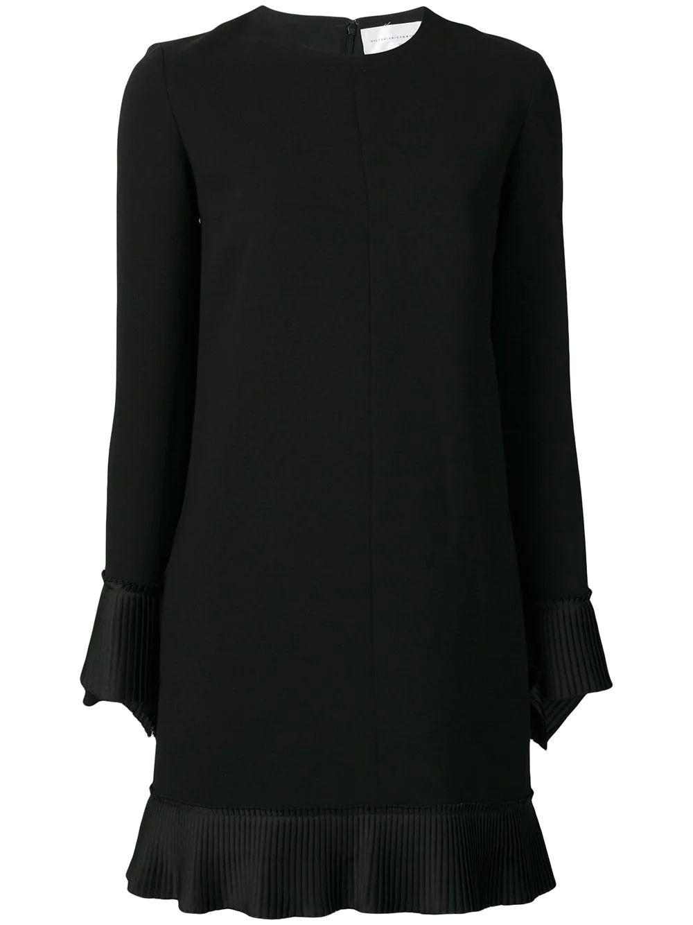 Long Sleeve Crepe Shift Dress With Pleated-Hem Collar