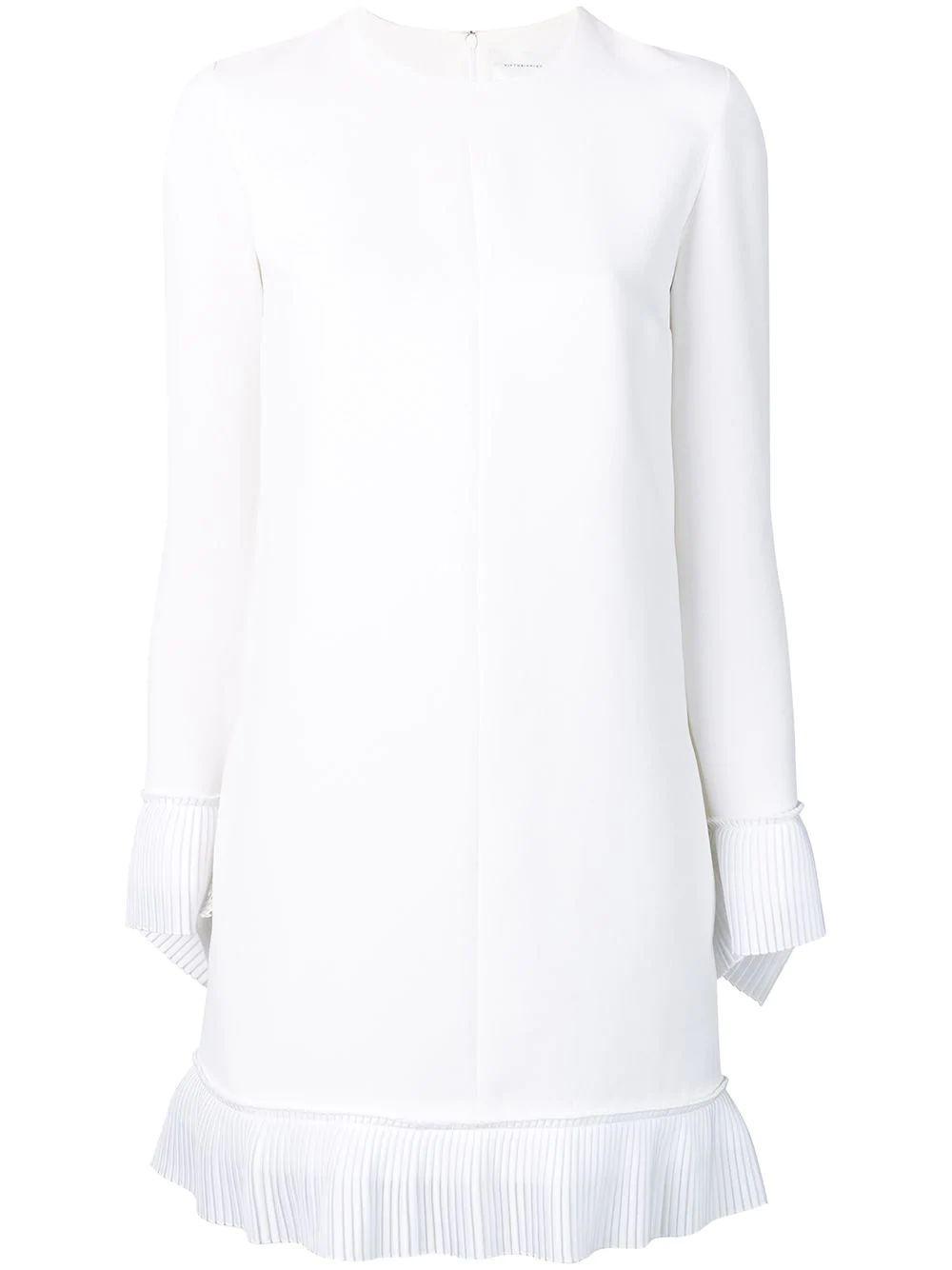 Long Sleeve Crepe Shift Dress With Pleated-Hem Collar