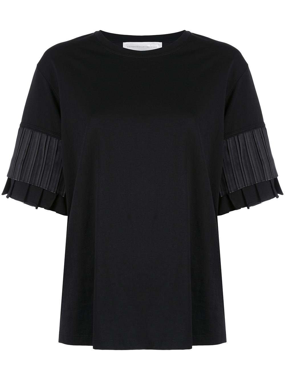 Short Sleeve Cotton Jersey Pleated Sleeve Tee