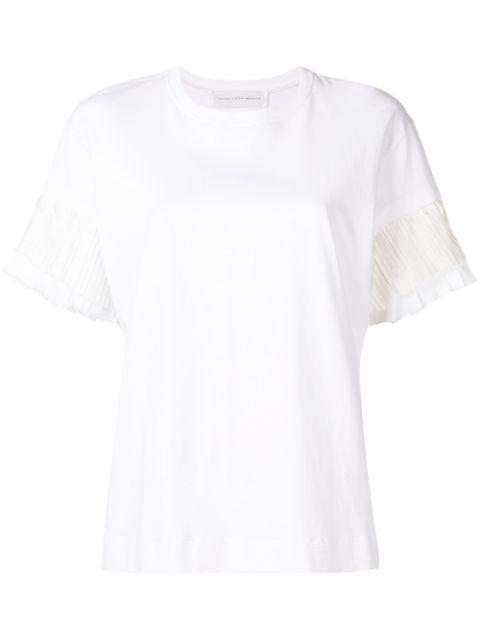 Short Sleeve Cotton Jersey Pleated Sleeve Tee