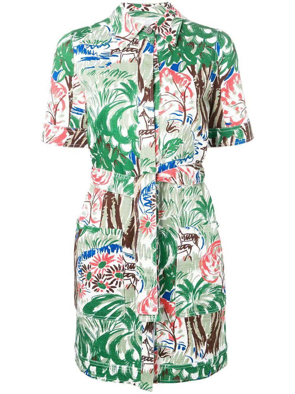 Short Sleeve Jungle Print Cotton Shirt Dress Item # DRVV675-PAW19