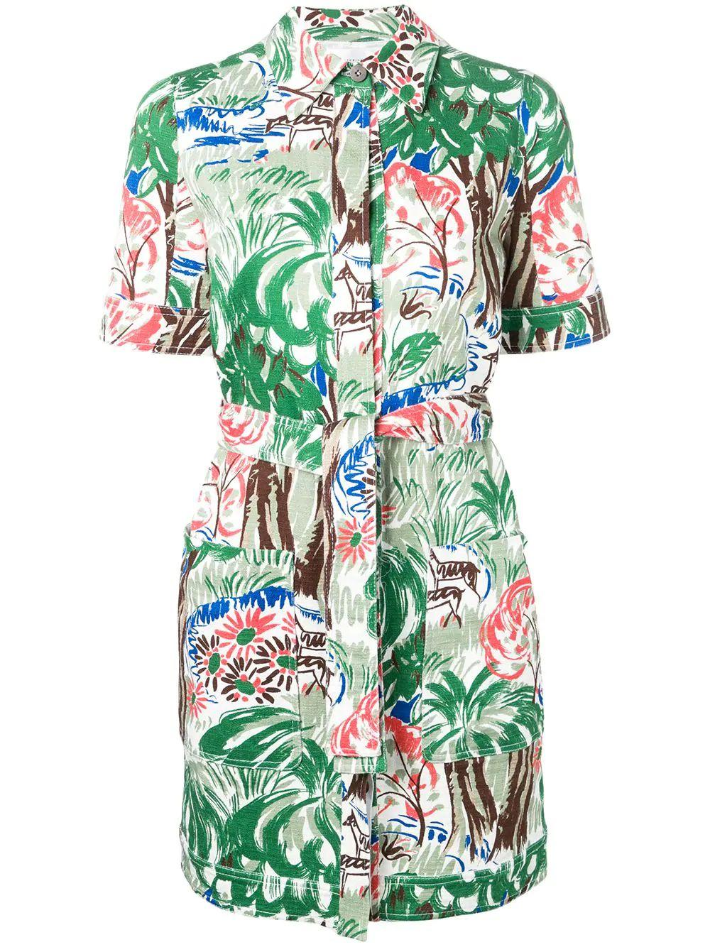 Short Sleeve  Jungle Print Cotton Shirt Dress