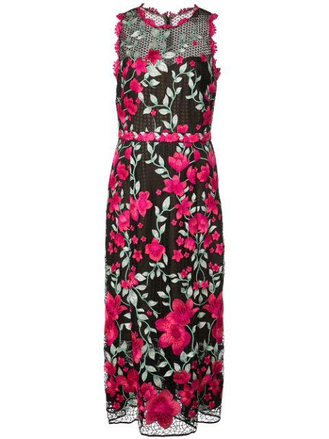 Sleeveless Embroidered Tea Length Dress Item # N32G0952