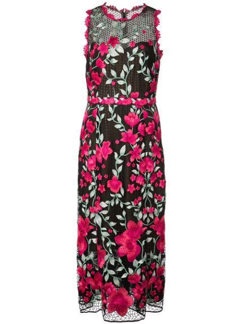 Sleeveless Embroidered Tea Length Dress