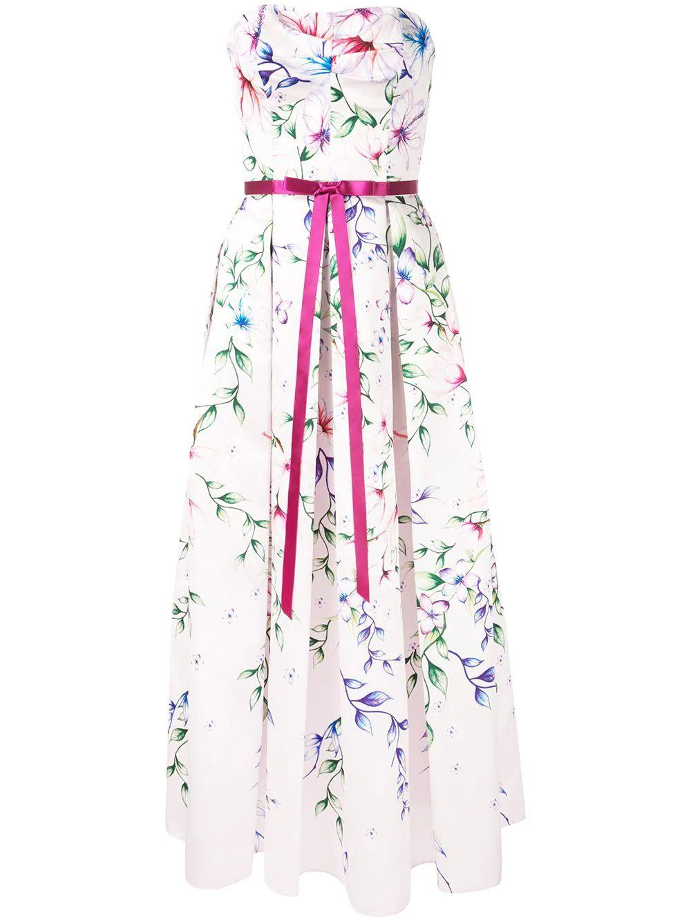 Strapless Printed Mikado Tea-length Dress
