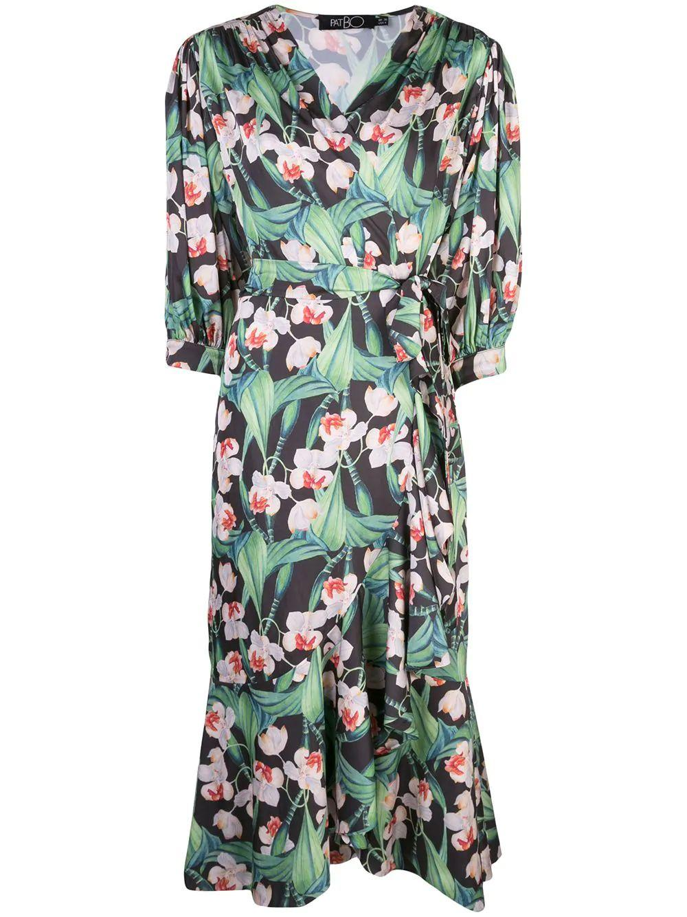 Floral Midi Wrap Dress Item # VES2136CUS