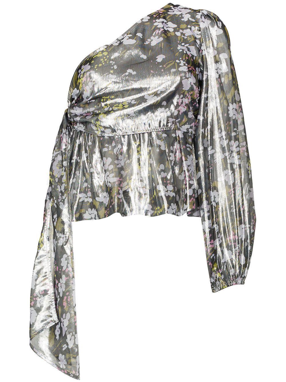 Lurex Silk One Shoulder Peplum Top